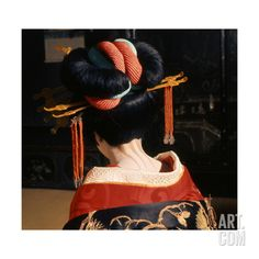 A Geisha in Traditional Dress and Make-Up Giclee Print at Art.com