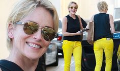 On Wednesday, the Basic Instinct star chose to highlight her legs, as she stepped out in a pair of bright yellow tight-fitting jeans.