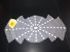 Lacy Vintage Crochet Table Runner Dresser Scarf Doily Lacy Art Deco 28 Inches. $12.00, via Etsy.