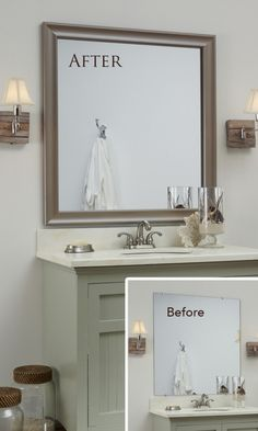 A MirrorMate frame for the mirror: an easy, inexpensive update with BIG impact. #bathroom #diy #makeover #design #ideas