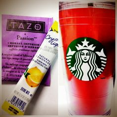 DIY Starbucks Passion Tea Lemonade: Fruit tea (chilled) + Crystal Light + Ice