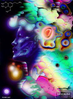 O designer gráfico Brian Pollett teve uma ideia ousada (e perigosa): ele usou uma droga diferente por dia, durante vinte dias, para ver como seus efeitos afetavam suas ilustrações.efeitos drogas arte 17