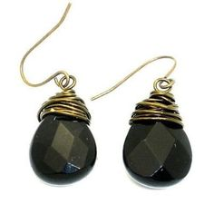 Bronze Wrapped Onyx Earrings Handmade and Fair Trade. Faceted onyx is wrapped casually in bronze wire on these earrings that hang approximately 1 inch long from bronze wire hooks.