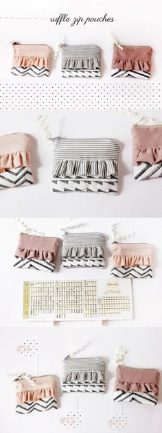 Ruffle Zip Pouches with Decorative Stitching diy zipper pouch free sewing tutorials zipper pouch tutorial diy sewing projects See Kate Sew Diy Sewing Projects, Sewing Projects For Beginners, Sewing Hacks, Sewing Tutorials, Sewing Crafts, Sewing Tips, Tutorial Sewing, Sewing Ideas, Bag Tutorials