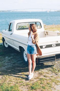 jess kirby of prosecco and plaid with her ford f100 truck