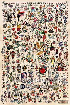 SAILOR JERRY TATTOO FLASH FINE ART PRINT - por lo tanto, este es el que hice para mí mismo que realmente cuelga en mi casa. Quería ser más de una obra de arte que cartel. Es por eso decido hacer las impresiones en un papel de arte fino. Es un tamaño de imagen de 24 x 36 con una variedad de Sailor Jerry Collins tatuaje Flash. Añado las leves manchas café en el fondo (no sé al igual de esa manera). Lo hace aparecer mucho más vintage. Pero si usted o alguien que amas es un tatuaje o un