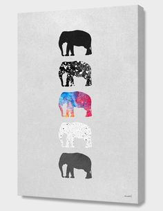 """Five Elephants"", Numbered Edition Canvas Print by Elisabeth Fredriksson - From $89.00 - Curioos"