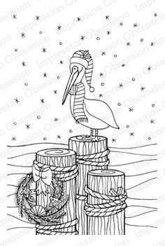 Impression Obsession Rubber Stamps Winter Pelican