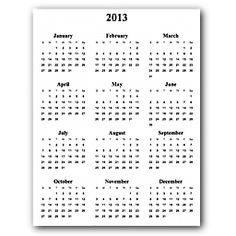 Free printable and customizeable calendars- Year on a page, day on a page, month on a page and week-days only.