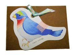 minne(ミンネ)| ミニメッセージカード:しあわせを呼ぶ青い鳥