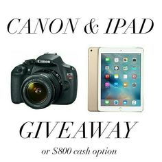 """Head over to @a_jess_state_of_mindnext to enter! More instructions below! 1 lucky winner will win a Canon EOS Rebel t5 and an iPad Air 2 or $800 PayPal cash option. MAKE SURE TO FOLLOW ALL ACCOUNTS we will be checking.  To Enter: 1Follow me and all other hosts of the giveaway 2 """"Like"""" this photo and everyone else's involved 3 Follow @a_jess_state_of_mind 4 Repeat steps 1-3 in every photo until you've arrived back here. This completes your entry. Be sure to double check that you didn't miss…"""
