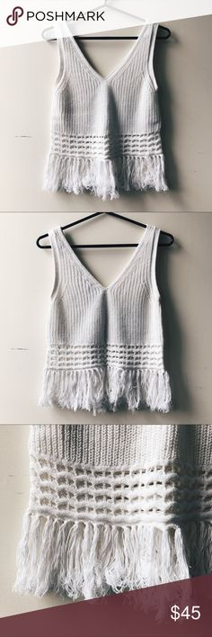 """CLUB MONACO Crochet Fringe Top Super chic crochet tank with fringe detail at the bottom, woven of Italian cotton. Looks great with high-waisted pants or jeans and your favorite sandals. Measurements laid flat as follows: underarm to underarm 16.5""""; total length 21.5""""; top of shoulder to top of fringe: 17"""". In like new condition.  🎀 Check out my other listings and bundle to save 🎀 Club Monaco Tops"""