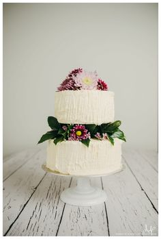 Two Tiered Buttercream Wedding Cake With Flowers Smore Lincoln Nebraska Bakery