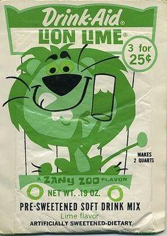 "Vintage Drink-Aid packaging ""Lion Lime"" flavor"