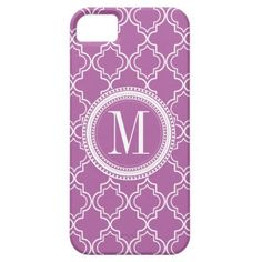 Lilac Moroccan Trellis Monogram iPhone 5 Cover - #zazzle