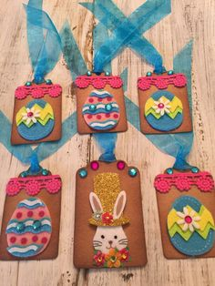 Easter cute baby chicks gift tags set of 6 puffy peeps easter bunny gift tags 6 adorable layered tags embellishments galore cute bunnies n negle Images