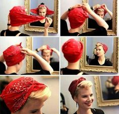 How to put, tie, wear a bandana? - Different ways to put a bandana on your head as a hairstyle in your hair like a pin-up or in a turb - Retro Hairstyles, Scarf Hairstyles, Bandana Hairstyles Short, Pin Up Hairstyles, Short Hair Bandana, Pixie Cut Headband, Wedding Hairstyles, Gray Hairstyles, Vintage Hairstyles Tutorial