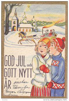 Vintage Swedish Village Christmas Card ~ Touches of Orange