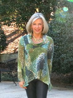 Cowl neck tunic made with Mood Fabrics' sweater knit print and a Style Arc pattern, sewn by Goodbye Valentino..