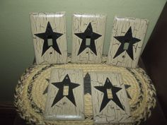Primitive Crackle Lot of 5 Single Light Switch Plates Black Star~ Country Decor #NaivePrimitive