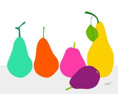 Colorful pears.  $20.00 Love her use of colors.