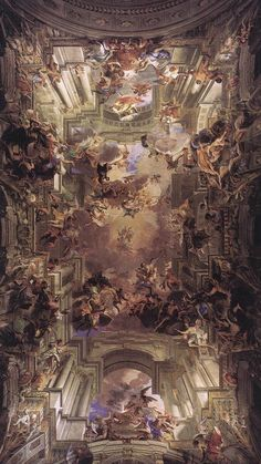 Andrea Pozzo, Allegory of the Jesuits' Missionnary Work, fresco (Sant'Ignazio, Rome) Baroque Painting, Baroque Art, Aesthetic Pastel Wallpaper, Aesthetic Wallpapers, Rennaissance Art, Art Romantique, Arte Peculiar, Ceiling Art, Baroque Architecture