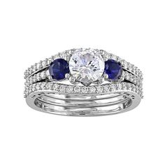 10k White Gold Lab-Created White & Blue Sapphire & 1/2 Carat T.W. Diamond 3-Piece Engagement Ring Set, Women's, Size: