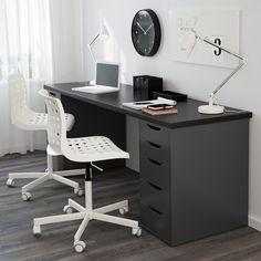 New Makeup Table Ikea Alex Drawer Unit Ideas Bureau Alex Ikea, Ikea Alex Desk, Ikea Alex Drawers, Ikea Desk, Desk With Drawers, Diy Desk, Ikea Linnmon Desk, Black Desk, Makeup Table Ikea