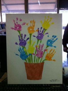 Handprint flowers card