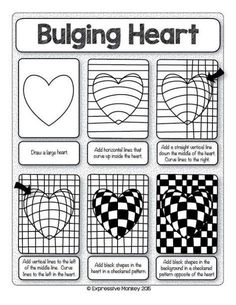 Make this Op Art Heart with step-by-step instructi. - - Nicole Wullweber - Make this Op Art Heart with step-by-step instructi. - Make this Op Art Heart with step-by-step instructi. Optical Illusion Quilts, Art Optical, Optical Illusions, Op Art Lessons, Art Lessons Elementary, Art Worksheets, Valentines Art, Zentangle Patterns, Zen Doodle Patterns