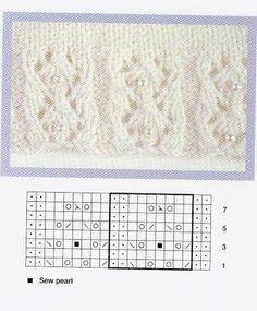 Knitting Charts, Lace Knitting, Knitting Stitches, Knitting Patterns Free, Knit Patterns, Stitch Patterns, Free Pattern, Knit Crochet, Knit Edge