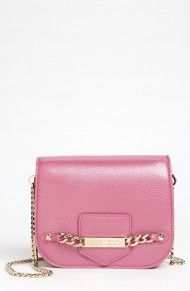 Jimmy Choo Shadow Pearlized Leather Crossbody Bag in Pink (cyclamen)