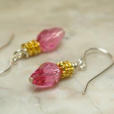 9x6 Rose AB Swarovski Teardrops, 4mm Teke spacer beads, Sterling silver shepherd hook