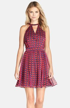 Adelyn Rae AdelynRae Cage Back Chiffon Fit & Flare Dress available at #Nordstrom