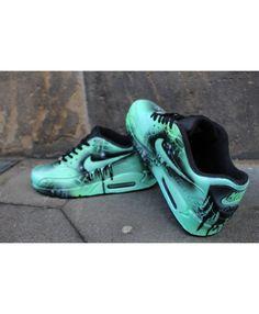 Custom Nike Air max 90 mint Black Abstract graffiti Drip Sneaker  UNIKAT   Rare 1224b5a52a