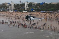 An aerial view of Ganpati devotees preparing for Visarjan at Juhu Beach #indipin