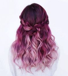 Purple to pink ombré hair