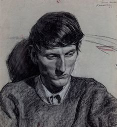 Robert Hannaford, Australia, born 1944, Bruce Howard, 1967, charcoal & white chalk, pencil on paper, 50.0 x 46.0 cm; Private collection, courtesy of the artist.