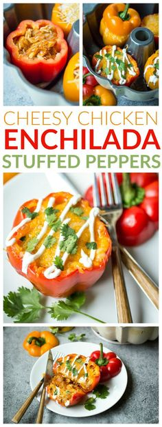 Filled with bubbly enchilada sauce and topped with melty cheese, these Cheesy Chicken Enchilada Stuffed Peppers will delight and satisfy every guest at the dinner table!