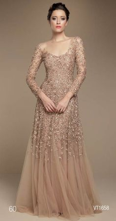 A-Line long sleeve mother of the bride dresses. beaded lace evening gowns for… Mother Of Groom Dresses, Mother Of The Bride Gown, Mothers Dresses, Mob Dresses, Women's Fashion Dresses, Wedding Dresses, Bride Dresses, Dresses 2016, Formal Dresses