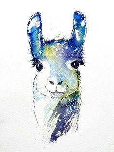 Lamas, Art de l'aquarelle, Art Print, Baby Shower, anniversaire, Arts enfants, Lama Art, Pamela Harnois, cadeaux