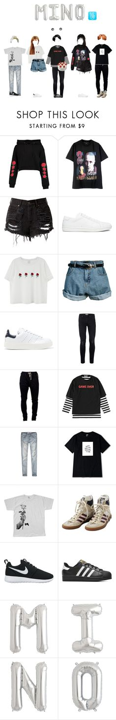 """""""v a p p ; Mino's Birthday Special"""" by official-chaos ❤ liked on Polyvore featuring Boohoo, Yves Saint Laurent, Retrò, adidas Originals, Topman, DRKSHDW, Abercrombie & Fitch, We Are Still Bold and Beautiful, adidas and NIKE"""