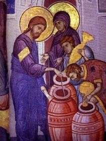 Scripture: This pin represents Matrimony is the New Testament at the Wedding Feast at Cana. Jesus's presence at the wedding of Cana affirmed the goodness of marriage and from that point forward, the Sacrament of Matrimony would be a sign of his presence. Religious Images, Religious Icons, Religious Art, Byzantine Icons, Byzantine Art, Lutheran Humor, Fresco, Mother Of Christ, Religious Paintings