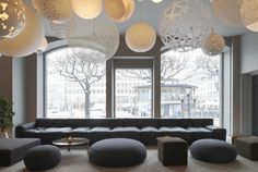 custom length Boxplay Sofa at Nobis Hotel in Stockholm all designed by CKR