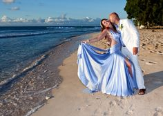 """Wed on a Barbados beach, with romantic, sunset photos!  Shelley advices to """"find a good wedding planner & trust in their experience & choices. They know it's a really special day for you and really do make it so.  Everyone was fantastic, the Reverend was a 'darling', the Photographer was superb & his photos spectacular, the one-man steel band was just right, & the stretch limo an added bonus.""""  Thanks for the vote of confidence Shelley & Joe -Hertfordshire, England.   barbadosweddings.com"""