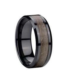 8mm Men's Black Ceramic Gray Wood Inlay Ring Wedding Band Fashion Jewelry Gift | eBay