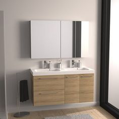 Meuble vasque l.121 x H.57.7 x P.46 cm, imitation chêne naturel, SENSEA Remix