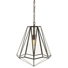 Edmond Brass/Glass Hexagon Pendant
