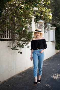 Straw Hat from Lack of Color, Vetta Capsule Blouse, Vintage Denim, and Espadril South Africa Sandals in Cape Town on juliettelaura.blogspot.com