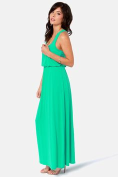 Cute Sea Green Dress - Maxi Dress - Racerback Dress - $39.00